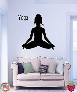 Wall stickers vinyl decal yoga sport fitness woman decor for Living room yoga sessions