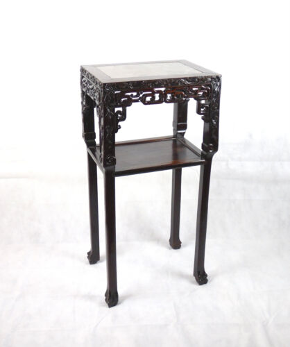 Chinese Darkwood Incense Table Marble Inset Qing Dynasty 19th C