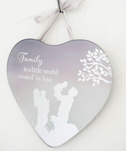 Family Hanging Heart Shape Plaque Mirror Quotes Sign Large Sayings Home Gift