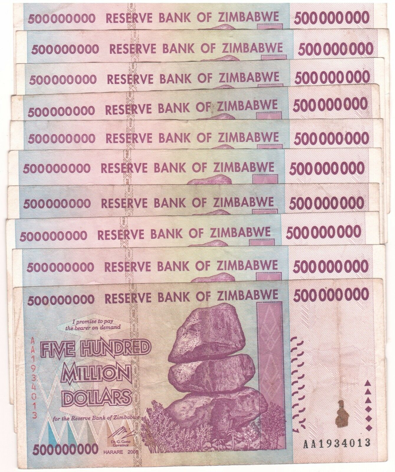 10 X Zimbabwe 500 Million Dollars AA/AB 2008, 50&100 Trillion Series,Circulated