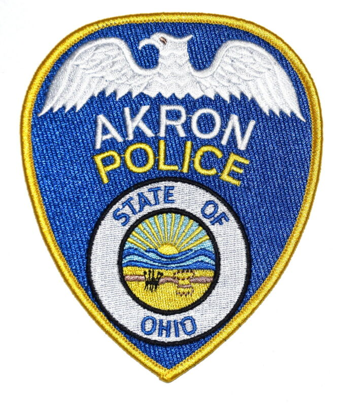 AKRON OHIO OH Police Sheriff Patch STATE SEAL SUNRISE MOUNTAINS SILVER EAGLE ~