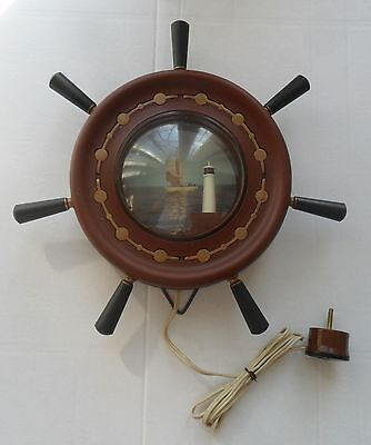 Vintage USSR Nautical Maritime Wall Table Decor Ship Wheel with Lighthouse Lamp
