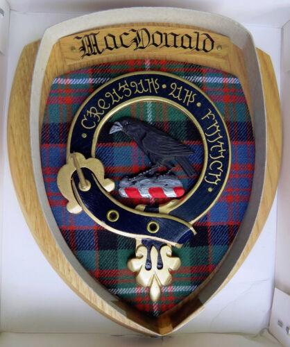 NOS Scottish Clan MacDONALD Oak Tartan Plaque Crest Shield  THE RAVEN
