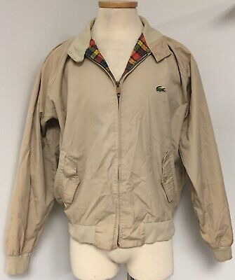 LACOSTE ICONIC VINTAGE KHAKI COTTON JACKET W PLAID LINING & ALLIGATOR LOGO XL
