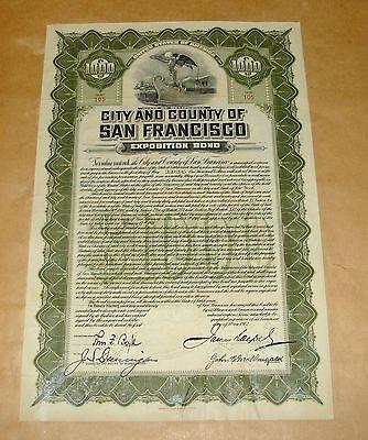 ORIG 1912 $1000 PANAMA PACIFIC EXPOSITION CITY & COUNTY OF SAN FRANCISCO BOND
