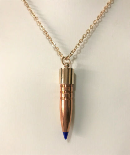 30 Cal Blue Tip HOGSTOOTH Rose Gold Necklace ~ Veteran Made ~