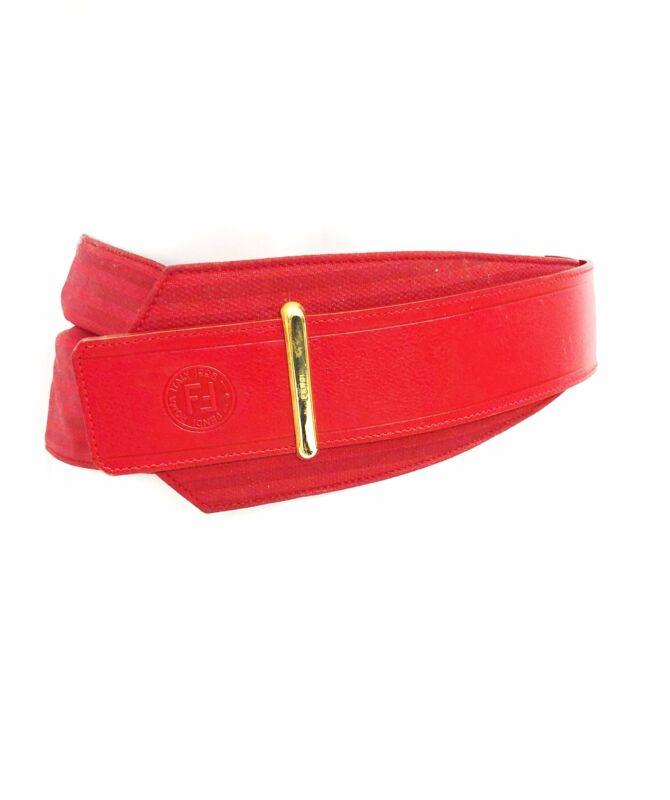 Vintage VTG 1980s 80s Red Designer Fendi Oversized Striped Waist Belt
