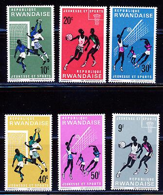 RWANDA 1966 SOCCER BASKETBALL VOLLEYBALL SET OF 6 SCOTT 164-69