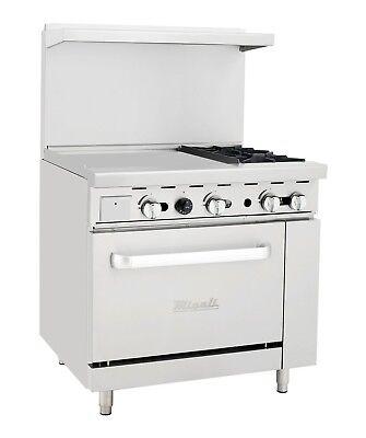 Migali C-ro2-24gl 2 Burner Range Oven With 24 Griddle Natural Gas