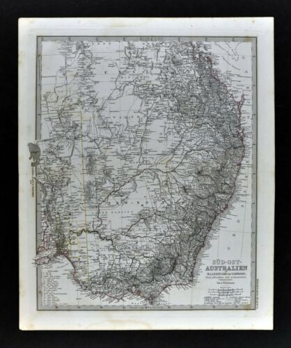 1876 Petermann Map Australia Sydney Melbourne Adelaide New South Wales Victoria