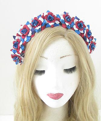 Union Jack Flag Rose Blume Stirnband rot weiß blau Großbritannien Britisch Fest ()