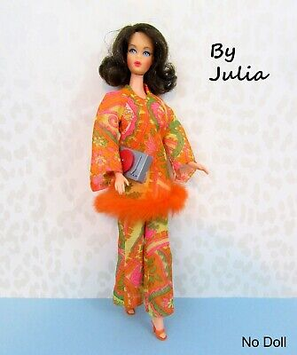 3 Pc Vintage Barbie Doll Clothes 70's OOAK Style MOD TUNIC TOP & BELL BOTTOMS