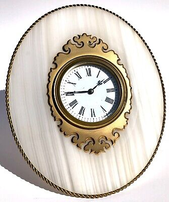 Antique Striped Agate & Gilt Ormolu 8 Day Mantel Easel / Strut Clock Torquay