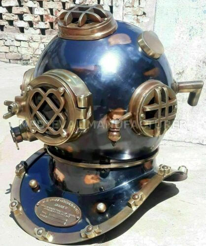 "Antique 18"" Diving vintage BOSTON MARK V U.S Navy Deep Sea Divers Helmet Replica"