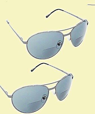 4ea69fedf6 2 pair Foster Grant Aviator 2.00 Strength Bifocal SunReader Sunglasses  Readers