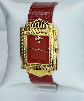 Women's Designer Authentic Vintage Gianni Versace Red & Gold Medusa Watch