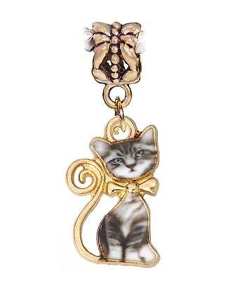 Cat Gray White Kitten Gold Plated Kitty Dangle Charm for European Bead Bracelets
