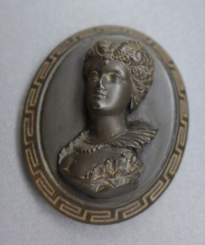 HIGH QUALITY, ANTIQUE, HIGH RELIEF, VICTORIAN VULCANITE MOURNING PLAQUE