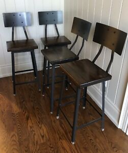 Industrial Reclaimed Wood Stools