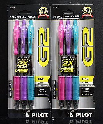 Lot 6 Pilot G2 Retractable Premium Color Roller Ball Pen 0.7mm Mix Colors Japan