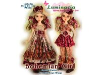 """Bohemian Girl PDF Dress /& Hat Pattern Fits 18/"""" MSD BJD Kaye Wiggs Liz Frost"""