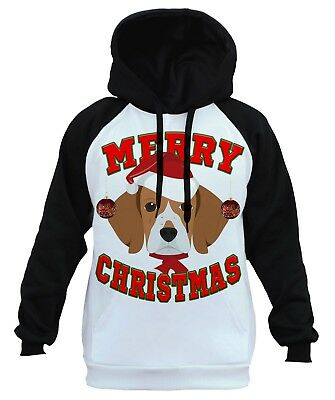 Men's Merry Christmas Beagle White Raglan Hoodie Holiday Xmas Dog Santa B1473 Beagle Dogs Mens Hoodie