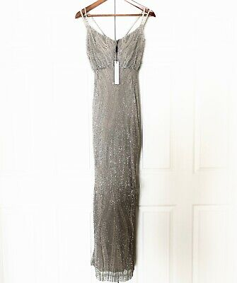 RACHEL GILBERT Caeley Hand Beaded Tulle Empire Sheath Dress Gown - Size 10 $2300