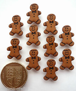 Small GINGERBREAD MEN Craft Buttons Plastic Food Novelty Cookies Christmas Man