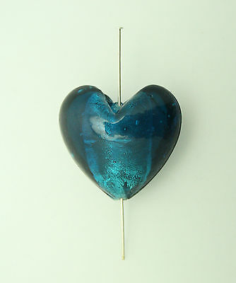 5 teal silver lined glass heart beads 28mm for jewellery making
