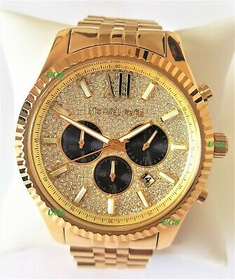 Michael Kors Watch Mens Lexington Chrono White Dial Gold Band MK8494 Genuine VIP