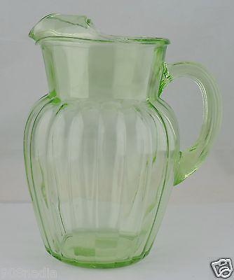 VINTAGE VASELINE GLASS GREEN VERTICAL PITCHER W/ ICE LIP GLASSWARE