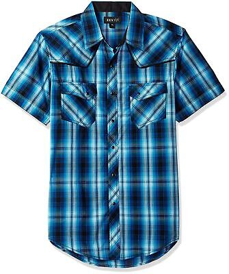 Ely Walker (Ely & Walker Men's Short Sleeve Textured Plaids Shirt with Piping, Turquoise,...)