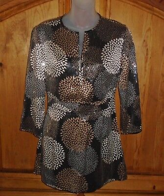 TORY BURCH Long Blouse Side Zipper Clip Front Full Paillettes Coverage Signed 4