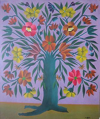Gabriel Alix Haitian Art Saint-Marc Tree of Life circa 1960's Oil Masonite Haiti