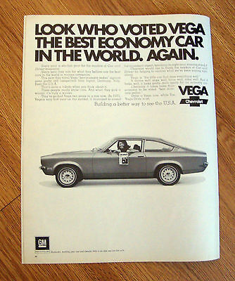 1972 Chevrolet Vega Ad  Look Who Voted Vega The Best Economy Car in the (Best Looking American Cars)