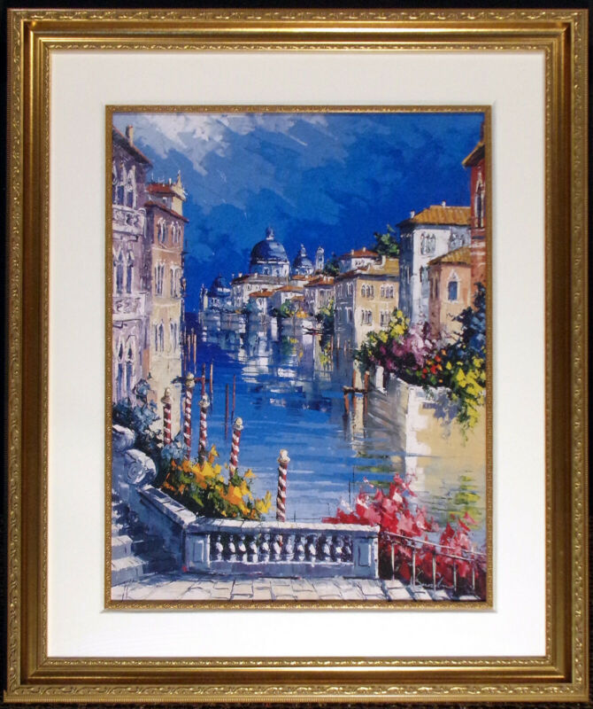 Nicola Berardino Hand Signed Giclee Fine Art Print On Paper Venice Italy, Framed