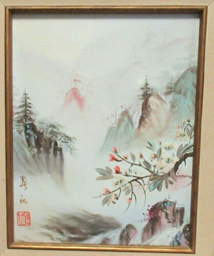 JAPANESE LANDSCAPE ORIGINAL OIL ON CANVAS PAINTING SIGNED
