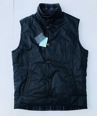 Peter Millar Midnight Blue Plaid Reversible Quilted Vest w/ Leather Trim Men's M