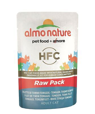 Almo Nature HFC Raw Pack Wet Cat Food Pouch - Tonggol Tuna Fillet (Pack of 24...