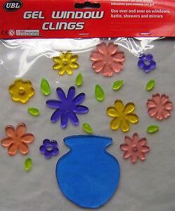 NEW-DECORATIVE-FLOWERS-VASE-GEL-WINDOW-CLINGS-STICKS-TO-BATHS-SHOWERS-MIRRORS
