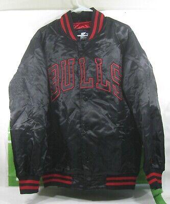 RARE🔥 Starter  black label NBA Chicago Bulls BLACK RED   Jacket size M
