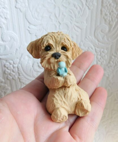 Goldendoodle bird friend Sculpture Clay by Raquel at theWRC
