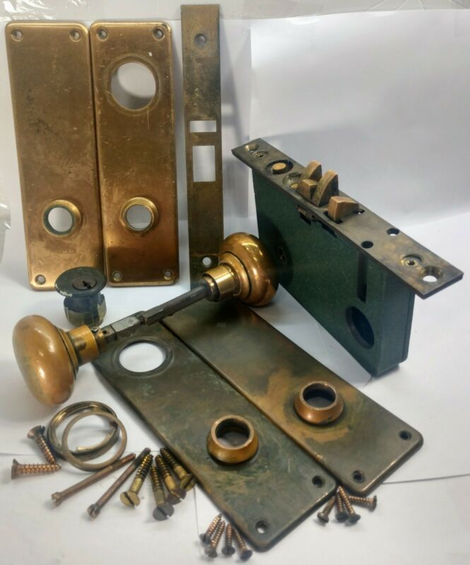 Vintage Russwin Mortise Lock Knob Entry WORKING BRASS Complete Original 1950