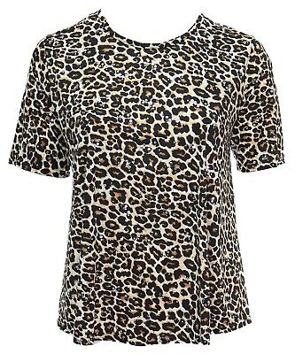 Jaguar Print Sparkly Silver Polka Short Sleeve T-shirt Top (Jaguar-print)