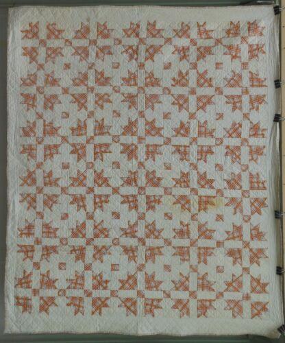 Unusual Antique Patchwork Quilt Nice Fabrics, Hand stitched