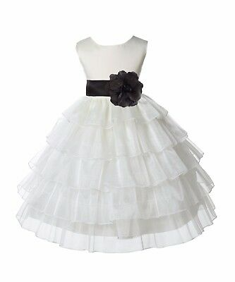 Tired Organza ivory Flower Girl Dress Wedding Pageant Prom Toddler Communion New - Flower Girl Dresses Organza