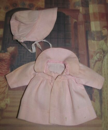 Darling vintage Pink Cotton Pique Coat and Bonnet Alexander Arranbee Effanbee!