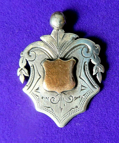 ANTIQUE STERLING SILVER & GOLD  WATCH CHAIN FOB ENGRAVED ,PENDANT.1933