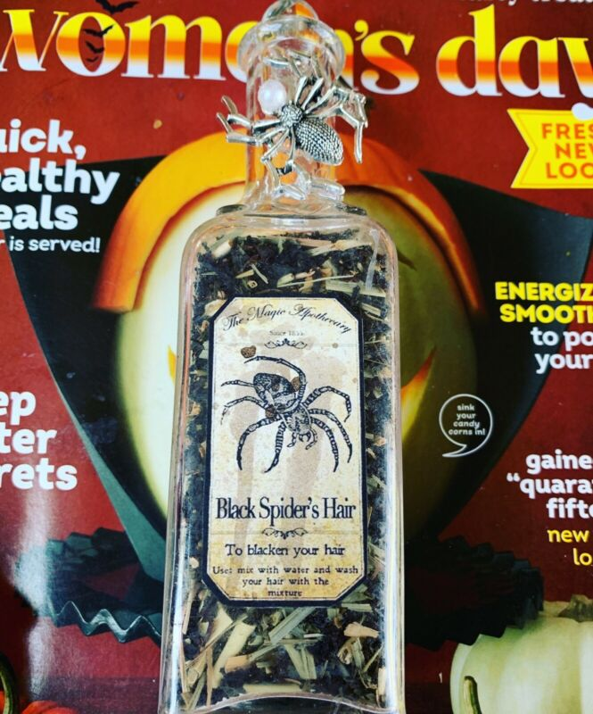 Apothecary Pharmaceutical Black Spiders Hair Herbs  Glass Bottle WICCA Halloween