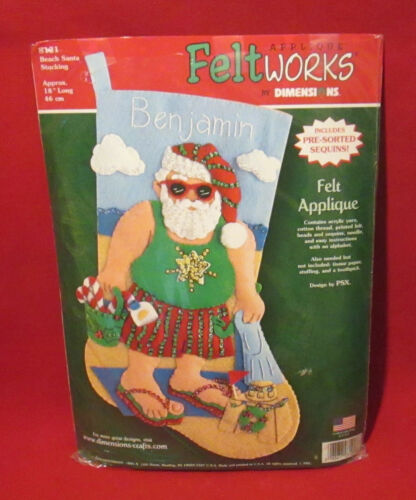 New in Open Package Feltworks Christmas Stocking Kit - Beach Santa - #8121